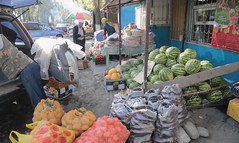 Watermelons For Sale (peterkelly) Tags: kazakhstan canon 6d digital asia gadventures centralasiaadventurealmatytotashkent village watermelons watermelon bags bag van stall vendor seller fruit store shop eggplant melon umbrella hat scarf bread tomatoes