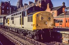 37229 Ayr 1M94 15th Sep 1990 (Mr Bushy) Tags: ayr ayrshire freshpaint newlypainted 1990 datedtrain scotland scotrail br britishrail scr scottishregion class37 eetype3 coalsector railfreightcoal