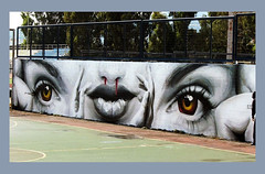 Eyes and mouth (Pensive glance) Tags: graffiti image painting wall mur mural streetart artderue