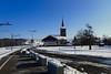 Palézieux-village (8pl) Tags: église quai gare rail neige paysagehivernal suisse campagne village vaud chemindefer palézieuxvillage béton chemin goudron courbes lampadaire caténaires