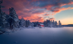 Under a Red Sky (lonekheir) Tags: norge norway winter ice cabin lake forest tracks