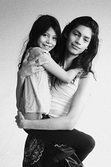 Brother and Sister (Scarlet Floyd) Tags: young modeling brother sister siblings sibling love hug carry skinny thin duo model teenager studio family monochrome blackandwhite