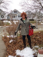 Pitiful! (Laurette Victoria) Tags: snow winter milwaukee wisconsin laurette woman purse redhead gloves leggings denim boots