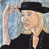 # 231 2017-12-19 (h e r m a n) Tags: herman illustratie tekening 10x10cm tegeltje drawing illustration karton carton cardboard kunst art vrouw woman hoed hat portrait portret