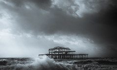 Angry sea (Anthony White) Tags: brighton england unitedkingdom gb storm doris gale dramatic wind coast abandoned westpier naturaleza beautyinnature sky clouds nopeople blackandwhite