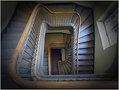 down to the basement (kurtwolf303) Tags: window architecture building treppe stairwell stairs geländer railing olympusem1 omd microfourthirds micro43 systemcamera mirrorlesscamera berlin deutschland germany mft kurtwolf303 unlimitedphotos topf25 topf50 topf75 staircase stiegenhaus topf100 topf150