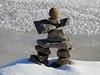An inuksuk on the shores of the Ottawa River at Richmond Landing in Ottawa, Ontario (Ullysses) Tags: richmondlanding ottawa ontario canada autumn automne snow neige inuksuk ottawariver rivièredesoutaouais