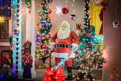 Santa Claus on the door (dmitrycaraman) Tags: 2018 claus winter street abstract outdoor xmas christmas holiday red lights dmitry 2017 celebration tree design toy yellow valley night decor usa decorated newyear season closeup santaclaus party greeting gift vacation color decorative light caraman california house colorful santa beautiful bright backyard photography decoration background green illustration new happy year