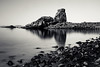 rock me gently (Port View) Tags: fujixe2 novascotia canada cans2s 2017 summer littlesplitrock cove coast shore beach bayoffundy fundy water reflection longexposure le blackandwhite bw mono monochrome rocks rocky tide tidal