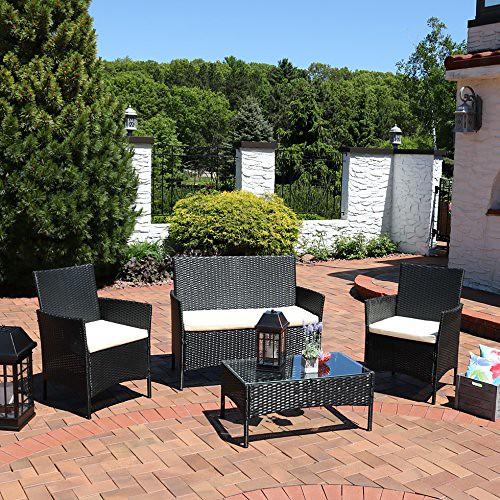 Sunnydaze Adelaide 4-Piece Rattan Patio Furniture Set with Cream Cushions