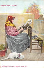 Old Maltese Lacemaking postcard (Celeste33) Tags: postcard vintage lace lacemaker malta maltese craft woman cat whitecat