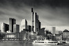 Frankfurt am Maine--2 (toniertl) Tags: christmas frankfurt germany cold toniphotoxoncouk travel winter monochrome blackandwhite city architecture skyscraper river boat heavysky