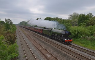 LNER A3 No 60103 'Flying Scotsman' running along the Midland Mainline hauling the Railway Touring Company 'The Yorkshireman' charters, from London Victoria to York via Bedford, Corby, Chesterfield & Barrow Hill. 04 06 2016