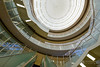 Upward view of Amano Teikyu Hall (天野貞祐記念館) (christinayan01 (busy)) Tags: architecture perspective saitama japan university interior indoor stairs