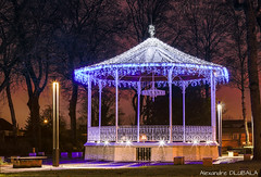 Bandstand with christmas lights (v.2017) (Alexandre D_) Tags: canon eos 70d tripod vanguard 85mm ef85mmf18usm panorama city light lights christmas noel bandstand night nightsky longexposure nuit colors color colorful couleur colour colours nightphotography music kiosque france hautsdefrance nord pasdecalais bassinminier architecture history billymontigny led blue orange 85mmf18 weihnachten outdoor outside nature navidad xmas