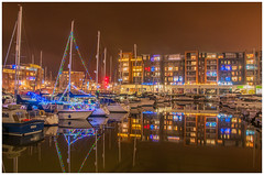Portishead Marina at Xmas (tramsteer) Tags: tramsteer boats lights masts apartments reflections portishead marina somerset bristol costa coop urban