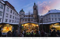 Slovenia - Christmas Market in Lubiana (Andrea di Florio (10.000.000 views!!!)) Tags: slovenia lubiana mercatini di natale christmas market centro capitale bianco e nero castello medioevo tramonto paesaggio panorama nikon d600