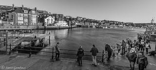 Handline fishing in Whitby Harbour.