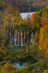 Plitvice Fall (David M. Cobb) Tags: peaceful plitvickajezeranationalpark tree reflection clouds water branches zen quiet croatia lake twilight plitvicenationalpark falls waterfalls waterfall cascade cascades fall fallcolor pond nature