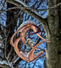 Photo #1: My Favourite Wind Ornament (Feeling Better...Still Slow To Comment!) Tags: 365the2018edition windornament copper crystal tree redmaple hanging outside snow sky inthebackyard spinner photo13652018edition 3652018 day1365 01jan18 photo1