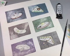Work-in-Progress | UFOs in Distress | Watercolor & Pen+Ink | Explored! (steveartist) Tags: art paintings watercolors penink ufos stevefrenkel iphonese multiimageartworks smallworks chinesewhitewatercolors brushes workinprogress spacecraft lgms decoratedspacecraft whimsicalart aliens explored