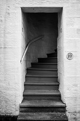 The Close (Half A Century Of Photography) Tags: doorway close stairs staircase entrance exit texture light white black blackandwhite 10