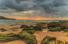 Cloudy Sunrise Seascape (Merrillie) Tags: daybreak shoreline sand landscape killcarebeach australia surf sky centralcoast newsouthwales waves coastal nsw water beach ocean dawn sea rocks photography waterscape outdoors seascape clouds coast killcare nature
