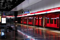 M300 series 'CAF' metro unit at Keilaniemi metrostation (Tuukka Varjoranta) Tags: hkl helsinki espoo helsinkimetro länsimetro västmetron westmetro metro metrolineextension m1 m2 m300 keilaniemi kägeludden keilaniemenmetroasema kägeluddenmetrostation keilaniemimetrostation subway underground