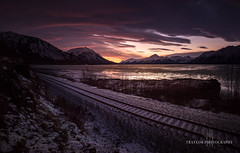 Morning Colors (Traylor Photography) Tags: alaska december wideangle indian landscape winter railroad sunrise iceflow mountains panorama clouds sewardhighway lightsource reflection anchorage unitedstates us