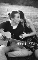 Bre & Steven Guitar (SweetlyPhotography) Tags: canon ae 1 program film monochrome kodak 35mm