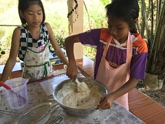 Making New Years Cookies 5 (SierraSunrise) Tags: fritters frying ministry newyearscookies nongkhai phonphisai thailand youth