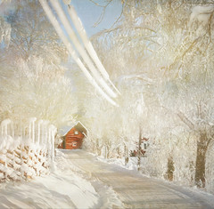 Leading to red (Birgitta Sjostedt) Tags: landscape winter texture paint snow road house fencefriday birgittasjostedt fence