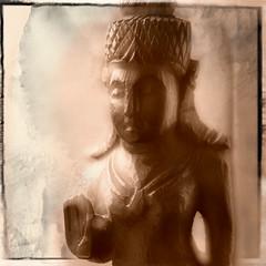 Mystified buddha (JaapFoto) Tags: macromondays doubleexposure macro micro nikon d750 ononesoftware perfecteffects buddha statue mystified