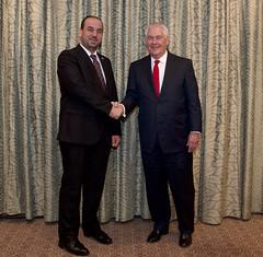 Secretary Tillerson Shakes Hands With Syrian Negotiations Commission President Dr. Al-Hariri (U.S. Department of State) Tags: rextillerson amman jordan naseralhariri