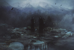 Spectres (Raptorfairy) Tags: forest darkforest sky mountains woods witchy witch spooky dark eerie horror photoshop canon monster creature moon fog mist foggy magic explore fantasy composite norse nordic crows raven mythology pagan