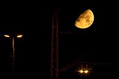 At 3AM above the railroad tracks... (.: mike | MKvip Beauty :.) Tags: sony⍺6500 sonyilce6500 sonyalpha6500 sonyalpha sony alpha emount ⍺6500 ilce6500 canonef300mmƒ4lisusm ef300mmf4lisusm canon canonl metabonesefemounttsmart metabones canonefe eftoemount kenko14xtelepluspro300dgx kenko teleplus 14x primelens prime manualexposure manual handheld availablelight naturallight moonlight moon orangemoon orange yellow 8°c night spring wörthamrhein germany europe mth mkvip metabonesefemounttsmartadaptermarkiv ngc npc
