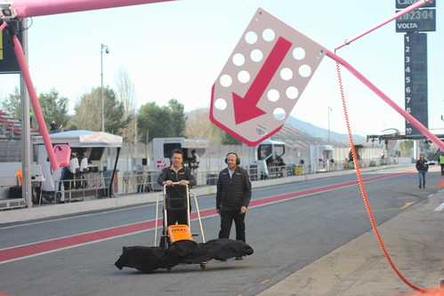 A McLaren nosecone makes its way along the pit lane during Formula One Winter Testing 2018