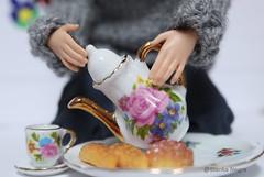 Nothing beats hot tea on a cold day (Blanka Negra) Tags: barbie barbiedoll fashiondoll madetomove tea cuppa winter folk knitted