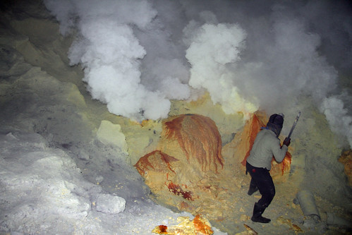 Sulfur miner at work near the Ijen Crater