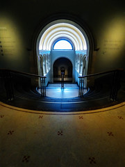 The National Portrait Gallery in London (Steve Taylor (Photography)) Tags: nationalportraitgallery london steps architecture sign artgallery stairs staircase railing blue black brown white dark bright uk gb england greatbritain unitedkingdom glow arch perspective tile window shadow