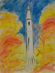 """Apollo Launch"" (BKHagar *Kim*) Tags: bkhagar art artwork sketch drawing watercolor watercolour paint painting apollo rocket launch fire liftoff"