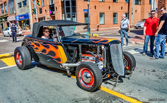 1933 Ford highboy hot rod (kenmojr) Tags: 2017 antique atlanticnationals auto car classic moncton newbrunswick show vehicle vintage centennialpark downtown kenmo kenmorris carshow 1933 ford highboy hotrod flames flamed retro roadster