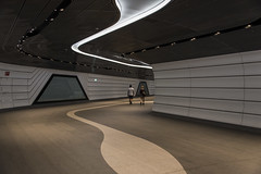 beneath earth and sky (Greg Rohan) Tags: sydney futuristic path walkway d750 2018 nikkor nikon ceiling people subway station lights wynyard underground