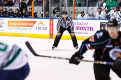 """Kansas City Mavericks vs. Florida Everblades, February 18, 2018, Silverstein Eye Centers Arena, Independence, Missouri.  Photo: © John Howe / Howe Creative Photography, all rights reserved 2018 • <a style=""""font-size:0.8em;"""" href=""""http://www.flickr.com/photos/134016632@N02/26516792128/"""" target=""""_blank"""">View on Flickr</a>"""