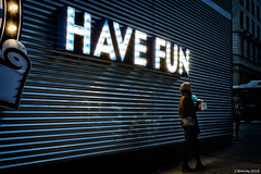 Have fun (j.borras) Tags: have fun banner light blue night street photography 30mm barcelona sony a6000