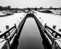 St Catherine's Lock (ed027) Tags: ifttt 500px lock canal river water reflection black white simple aerial snow frost cold winter smooth calm peaceful peace engineer navigation weather wet beautiful beauty nature negative space monochrome mono moody tranquil transportation