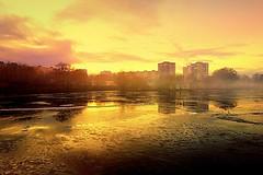 Frozen lake (majka44) Tags: frozen ice reflection day light tree winter sky slovakia košice yellow sunset sunrise