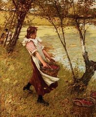In the Orchard (1893) (Animus Mirabilis) Tags: english painting art henryherbertlathangue 19thcentury orchard harvest fruit basket tree water girl ladder landscape