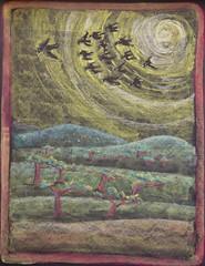 The Crow and the Ravens (ArneKaiser) Tags: 2ndgrade hws haleakalāwaldorfschool mrkaisersclass waldorf art chalk chalkart chalkboard chalkdrawings fable fables