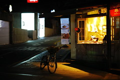 2016/1726:# (june1777) Tags: snap street alley seoul bukchon angukdong night light canon eos 5d ef 85mm f12 ii 1600 clear bicycle bokeh
